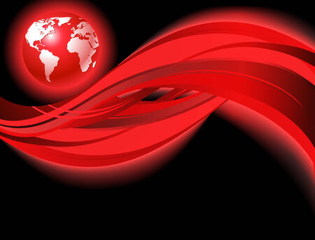 Red business world map wave background with eps10 effects. design template. Vector