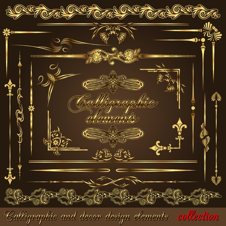 Gold calligraphic design elements vol2. Vector design corners, bars, swirls, frames and borders. Hand written retro feather symbols. Vector