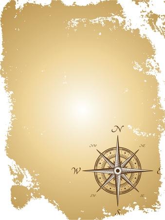 rosa dei venti: Blank map vecchia carta con la bussola. Vector illustration Vettoriali
