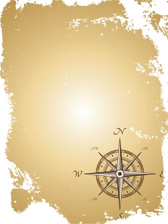 nautical vessel: Blank old paper map with compass. Vector illustration