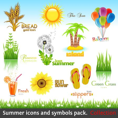 piktogramm: Summer icon and symbol pack. Vector collection