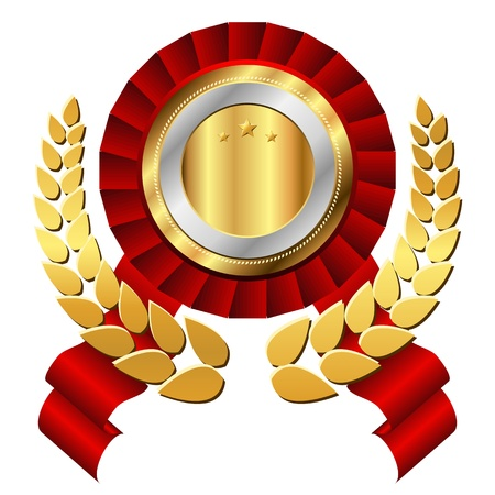 prize winner: Golden label with wreath. Luxury style vector symbol. Illustration