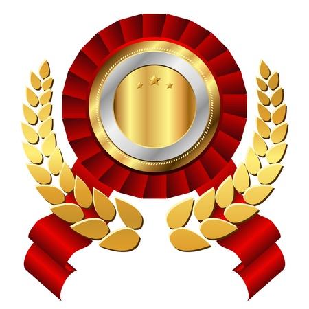 triunfador: Sello de oro con la corona. Lujo al estilo vector de s�mbolo.