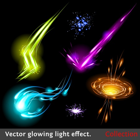 Vector glowing light effect set. Sparkling design element collection. Çizim