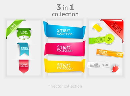 web icons: Ribbon and banner collection. Vector bookmarks. Design symbols.