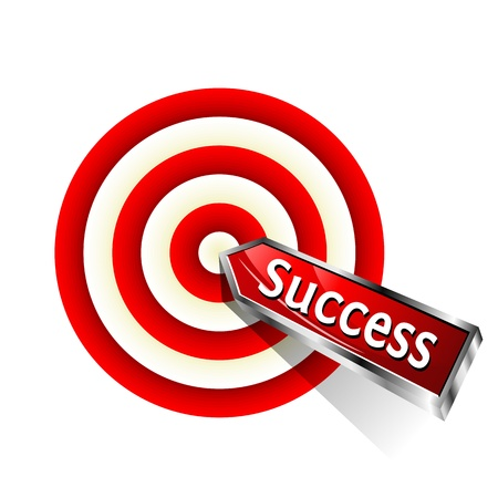 dart on target: Concept success. Red dart hitting a target. Vector sign. Illustration