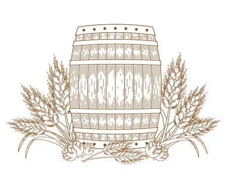 Barril con espigas de trigo. Vector elemento de diseño adornado. Boceto dibujado a mano. Línea arte.