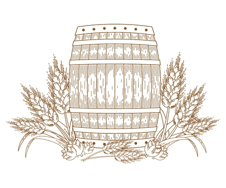 beer drinking: Barrel with wheat ears. Vector ornate design element. Hand-drawn sketch. Line art.