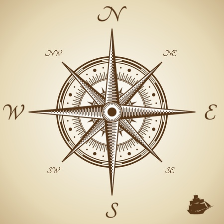 cartographer: Vector compass. Height quality illustration. Old style.