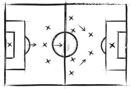 Football field. Vector drawing of a soccer. Grunge illustration. Vector