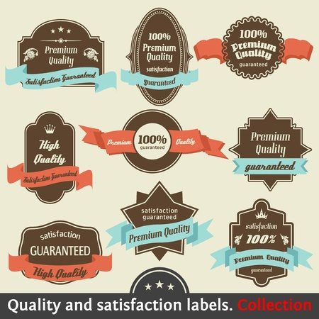 with sets of elements: Vintage Premium Quality and Satisfaction Guarantee Label collection. Vol 2