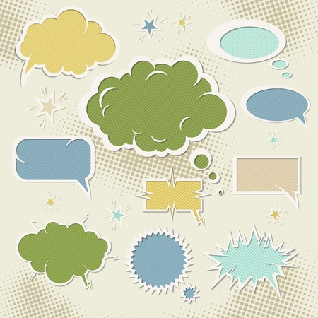 element for design: Speech bubbles. Set of element for design, grunge vector illustration.