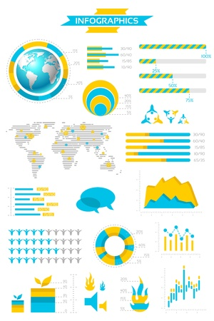 information graphics: Infographic collection with labels and graphic elements. Vector illustration.  Illustration