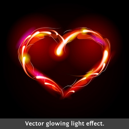Vector light effect heart  Firework design illustration  Vector