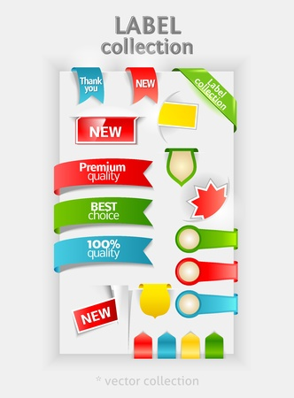 Labels collection. vector sticker for text. Ribbon, banner, bookmarks. Design symbols.