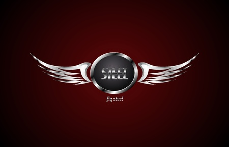 wings vector: Wings steel symbol  Abstract vector business background