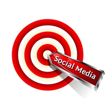 golpeando: Concepto de Red Medios de Comunicaci�n Social de dardos golpear a un signo objetivo de Vector
