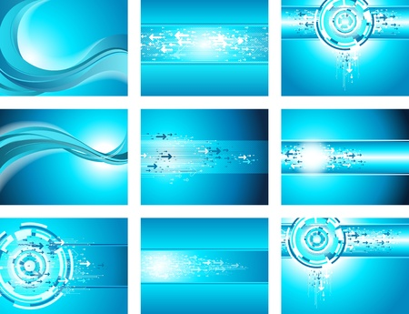 Site blue wave and arrow background collection  Vector  Vector