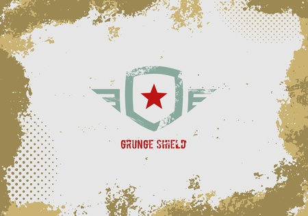 grunge shape: Grunge shield design element on grunge background  Illustration