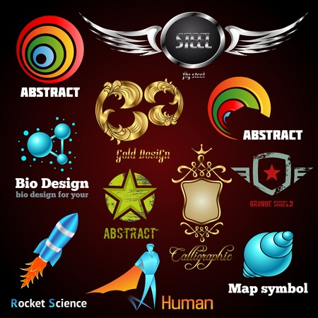 ellements: Collection of glossy and 3d vector icons for your business artwork  Vector design ellements