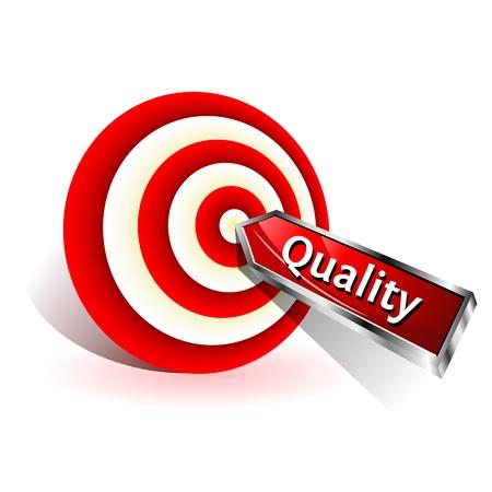 doelstelling: Quality Concept Red dart het raken van een doel Vector teken
