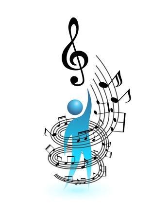 dance music: Muziek begrip vector mensen Menselijke sociale icoon
