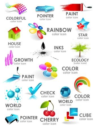 Design 3d color icon set. Design elements. Illustration