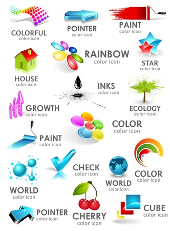 digital paint: Design 3d color icon set. Design elements. Illustration