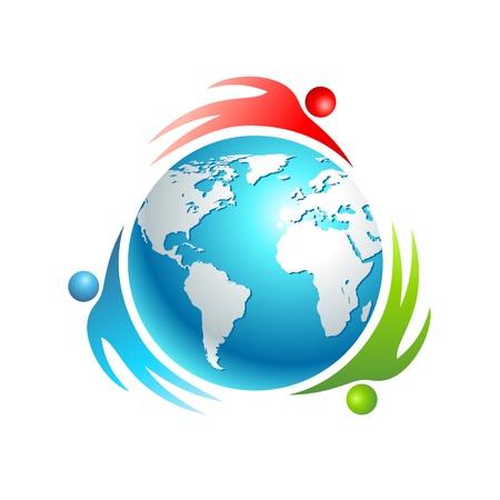 wereldbol groen: Sociale wereld icoon. Concept vector mensen. De mensen draaien rond de aarde.