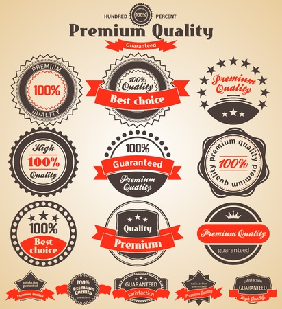 badge ribbon: Premium Quality Labels. Design elements with retro vintage design.