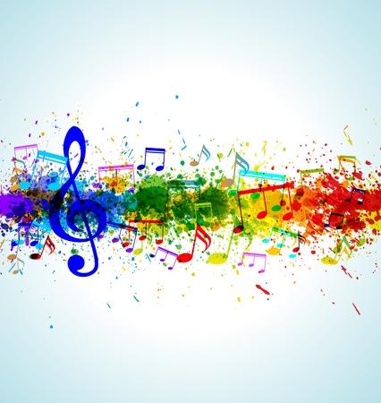 Music background. Color paint splashes. Gradient vector. EPS10.