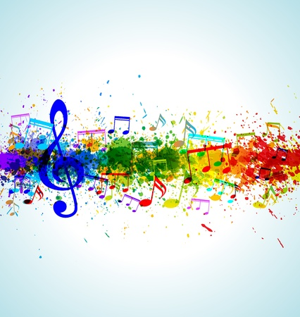 Music background. Color paint splashes. Gradient vector. EPS10. Vector