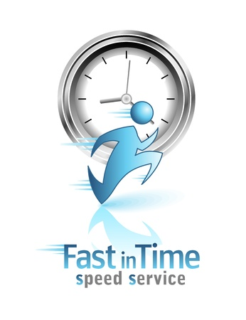 fast service: Fast in Time. Social icon. Running men.