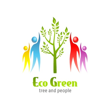 tree service business: Eco Green icon. Tree and people. Vector design.