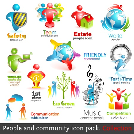 People community 3d icons Vector