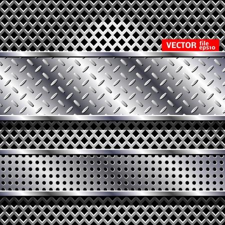 on metal: Resumen de fondo de acero Vectores