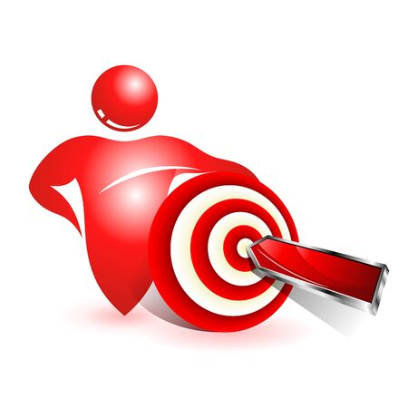 media center: Social. Concept business icon. Red dart hitting a target Illustration