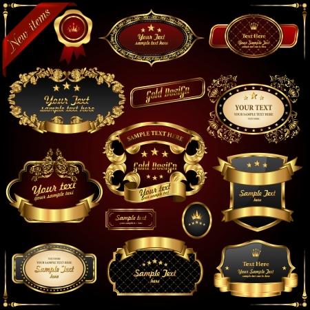 ruban or: Des cadres dor�s R�tro. �l�ments de conception haut de gamme. Illustration
