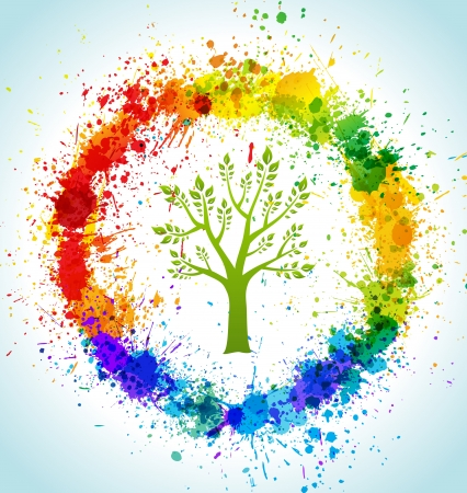 Color paint splashes eco background. tree and frame.