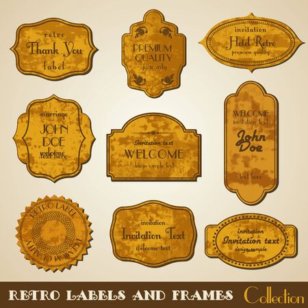 Set of grunge retro. Invitation ornaments. Vector