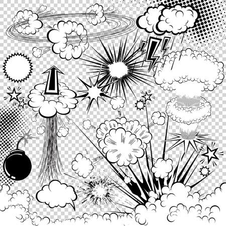 nubes caricatura: elementos cómicos del libro explosión. Símbolos de dibujos animados.