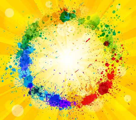 sun and paint splashes effect background. Vector