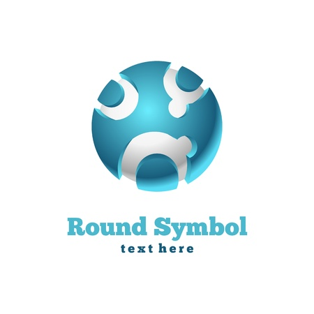 puzzle globe: Round icon. Abstract symbol Illustration