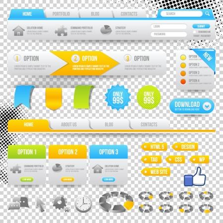web design elements: Web Elements. Site Navigation Menu Pack. Design Template.