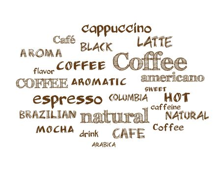 textcloud: Coffee. Vector word cloud background. Hand drawn style text.
