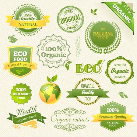 negocios comida: Vector Alimentos org�nicos, Eco, Bio y Elementos de las etiquetas. Vectores