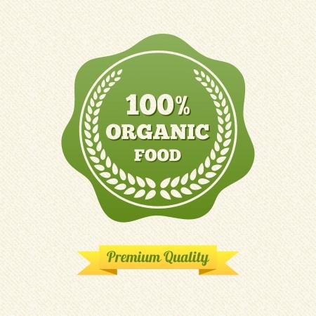 organic background: Organic Food Label. Vintage Design.