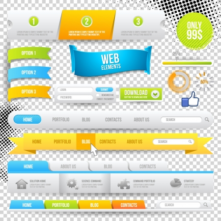 Web Elements, Buttons and Labels. Site Navigation. Vector