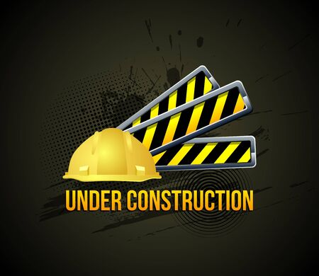 building safety: Under construction. Color Icon on Grunge Background.