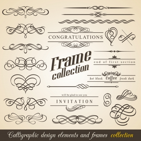 calligraphic design: Calligraphic Design Elements and Frames. Vintage Collection. Illustration